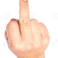 15163282-Adult-male-hand-with-middle-finger-up-over-white-Stock-Photo